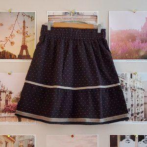 Luna Moon Boho Navy Midi Skirt